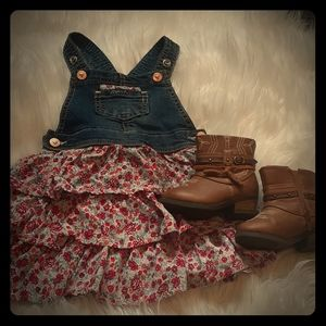 24 month country dress paired with size 5 boots